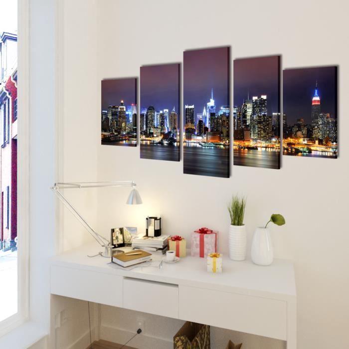 Toiles murales 5 panneaux color motif de horizon de new for Salle a manger new york