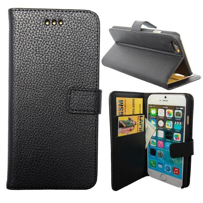 Etui housse coque portefeuille iphone 6 plus noir achat for Housse portefeuille iphone 6