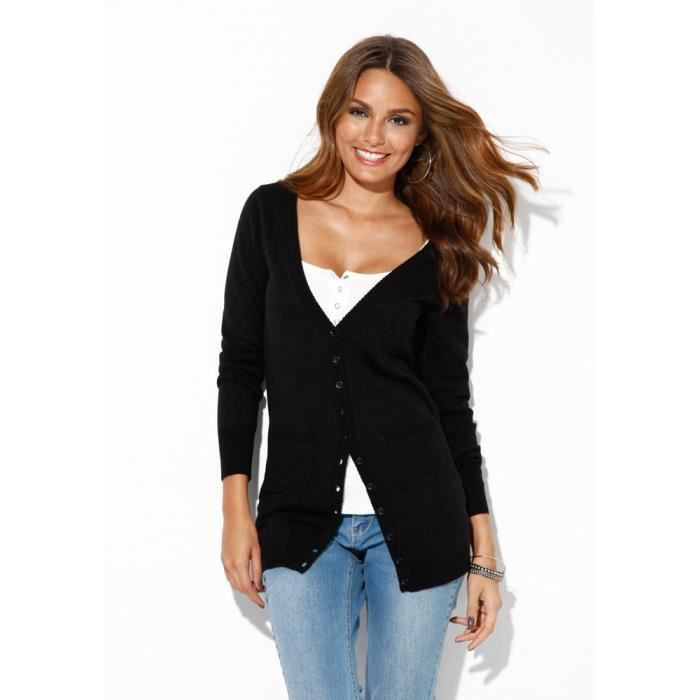 Veste cardigan long femme noir achat vente veste cdiscount - Cardigan long femme ...