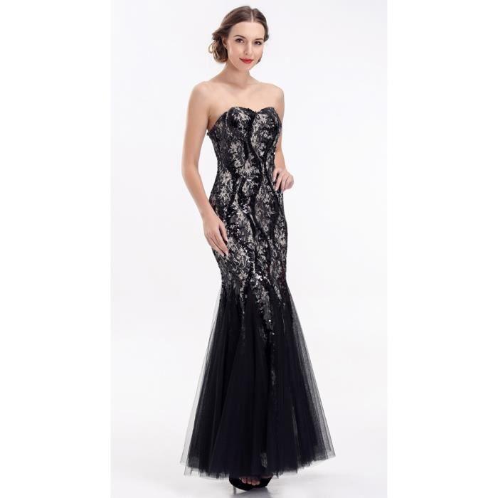 jolie robe de soir e longue noire noir achat vente. Black Bedroom Furniture Sets. Home Design Ideas