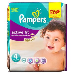 COUCHE PAMPERS Active Fit T4 Maxi 7-18 kg x43 couches