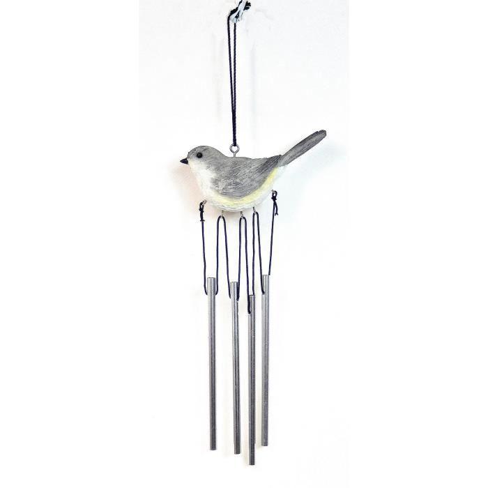 carillon oiseau int rieur ext rieur gris 32cm achat vente carillon vent carillon oiseau. Black Bedroom Furniture Sets. Home Design Ideas