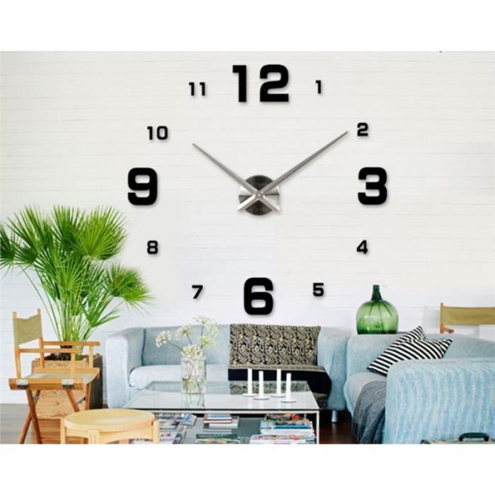 Horloge murale 3d d cors maison 63 63cm noir achat for Horloge murale 3 cadrans