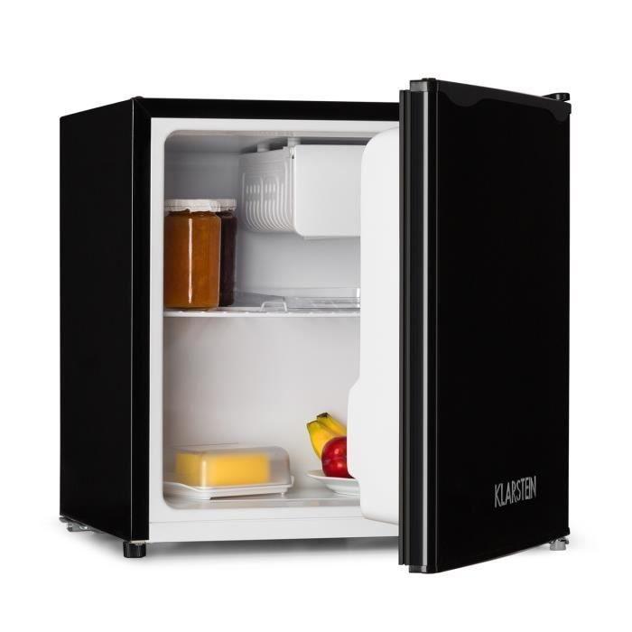 klarstein mini frigo silencieux 40l minibar avec compartiment pour bac glacons acier. Black Bedroom Furniture Sets. Home Design Ideas