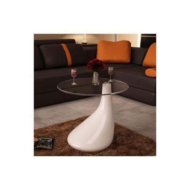 Superbe table basse de salon blanche brillante achat for Table basse salon blanche