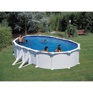 PISCINE Kit piscine ovale acier blanche Bora bora - 6.10 x
