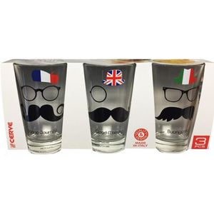 VERRE JETABLE 3 VERRES MOUSTACHE FRANCE ANGLETERRE ITALIE 31 CL