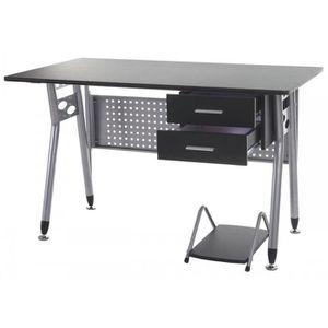 Bureau gris achat vente bureau gris pas cher cdiscount for Meuble bureau gris
