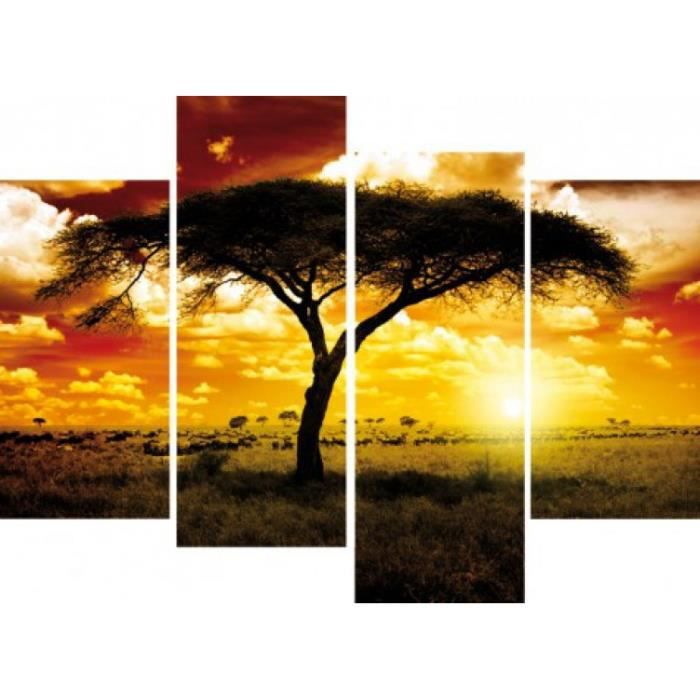 afrique poster reproduction sur toile tendue sur ch ssis coucher de soleil arbre dans la. Black Bedroom Furniture Sets. Home Design Ideas