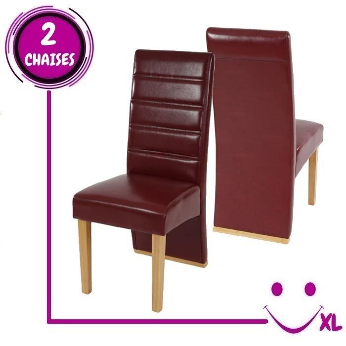 2 chaises de salle manger krems imitation cuir rouge for Chaise salle manger moderne cuir