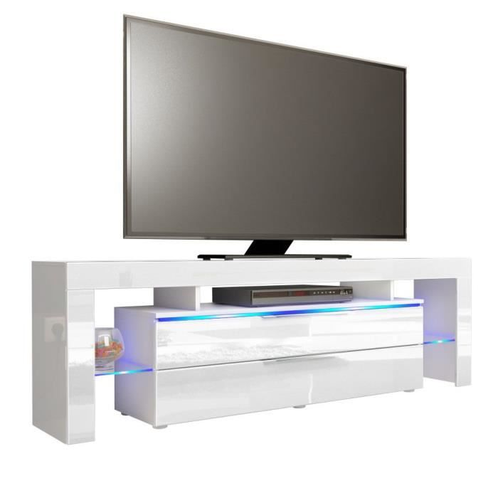 meuble tv blanc mat de 163 cm achat vente meuble tv meuble tv blanc mat de 163 cm soldes. Black Bedroom Furniture Sets. Home Design Ideas
