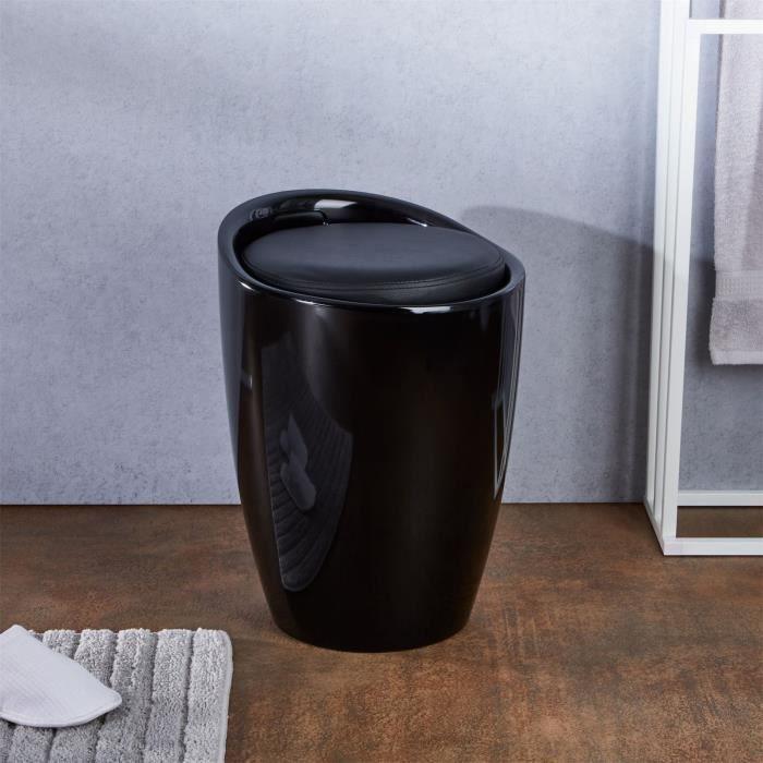 Tabouret coffre rangement noir Achat Vente tabouret