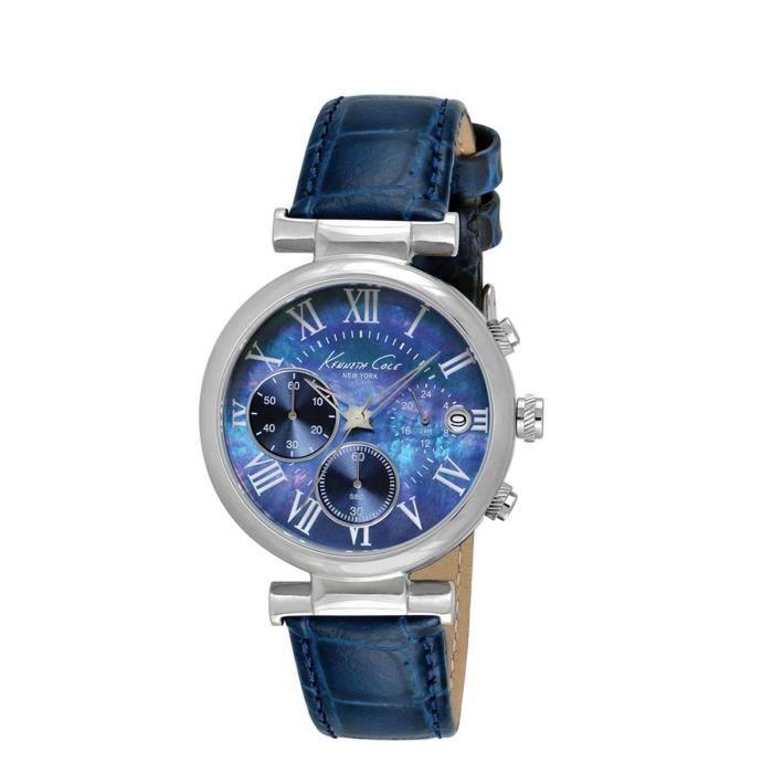 montre pour femme cadran rond nacr bracelet cu bleu achat vente montre soldes d t. Black Bedroom Furniture Sets. Home Design Ideas