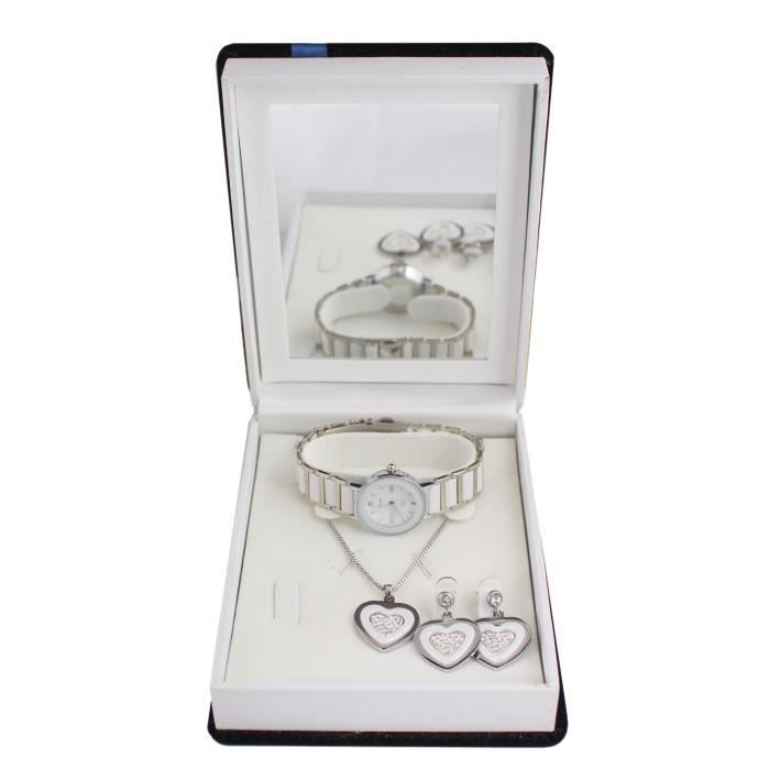 coffret cadeau montre femme parure bijoux c ramique collier et boucles d 39 oreilles achat. Black Bedroom Furniture Sets. Home Design Ideas