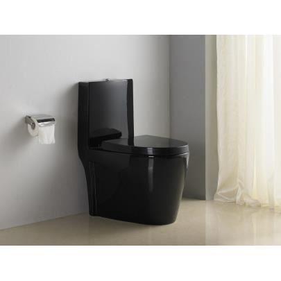 Wc pos daiki avec abattant silencieux noir achat vente wc toilettes - Abattant wc silencieux ...