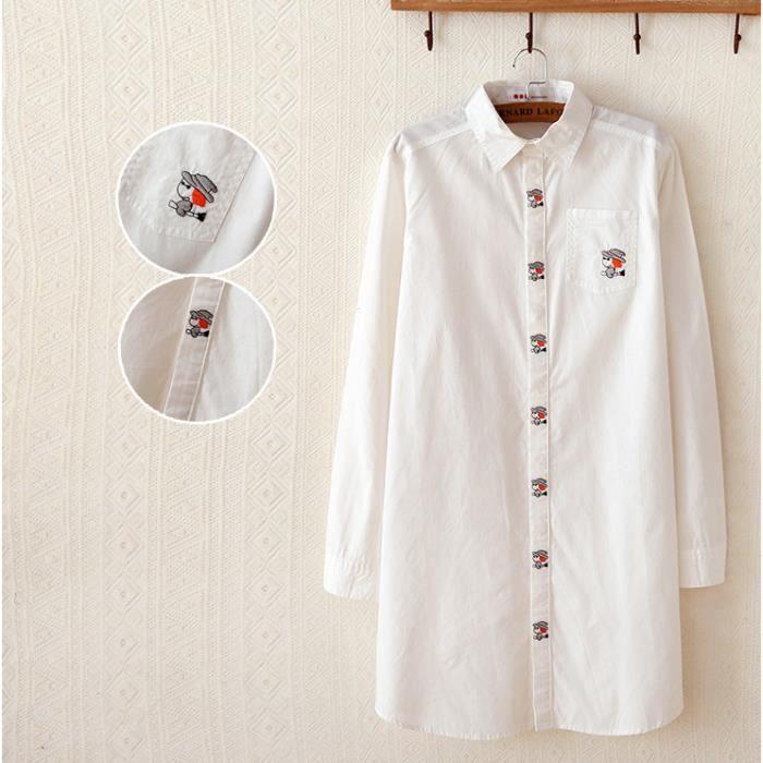 chemise blanche femme longue section solide chemise manches longues revers femme japonaise des. Black Bedroom Furniture Sets. Home Design Ideas