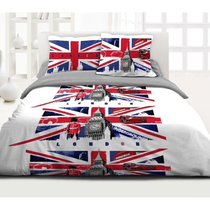 housse de couette 100 pur coton 220 x 240cm 2taies cage aux oiseau london achat vente. Black Bedroom Furniture Sets. Home Design Ideas