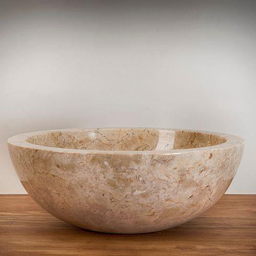 vasque ronde en pierre marbri re ton cr me achat vente lavabo vasque vasque ronde en. Black Bedroom Furniture Sets. Home Design Ideas