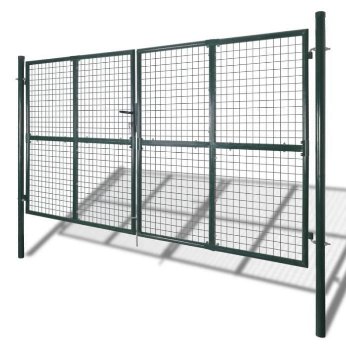 Porte portail de cl ture en grillage galvanis e 300 x 175 for Porte cloture