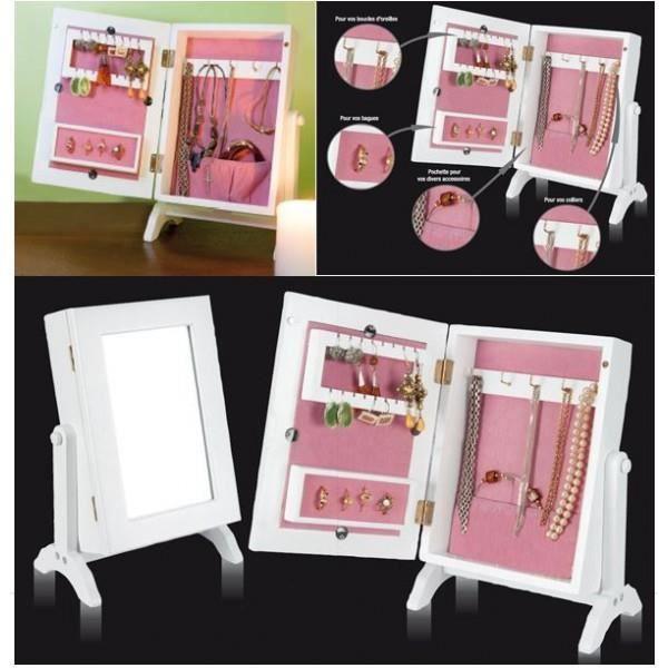 Mini armoire range bijoux blanche et rose avec achat vente pr sentoir b - Armoire range bijoux ...