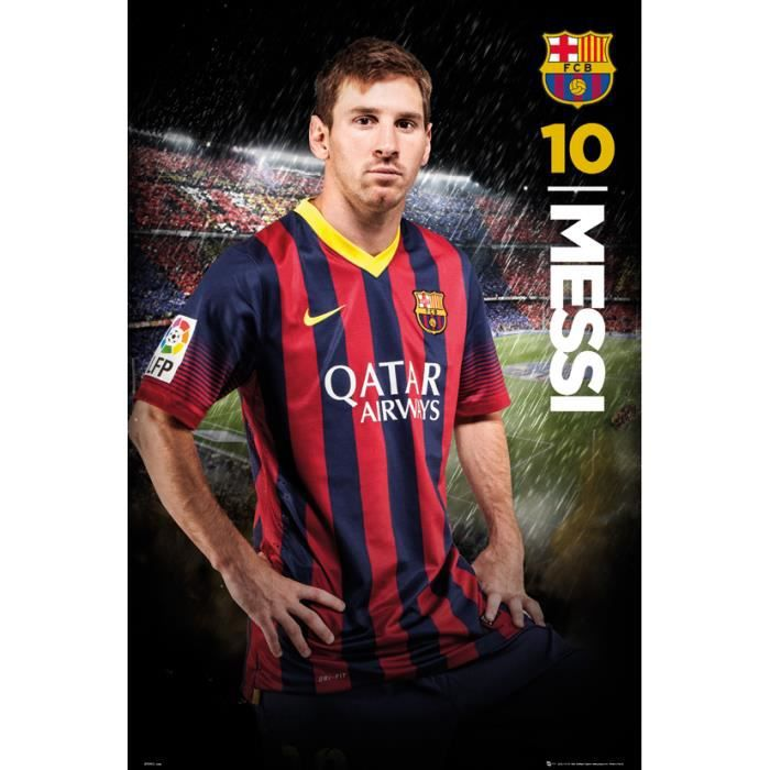 football poster fc barcelona 61 x 91cm messi achat vente affiche cdiscount. Black Bedroom Furniture Sets. Home Design Ideas