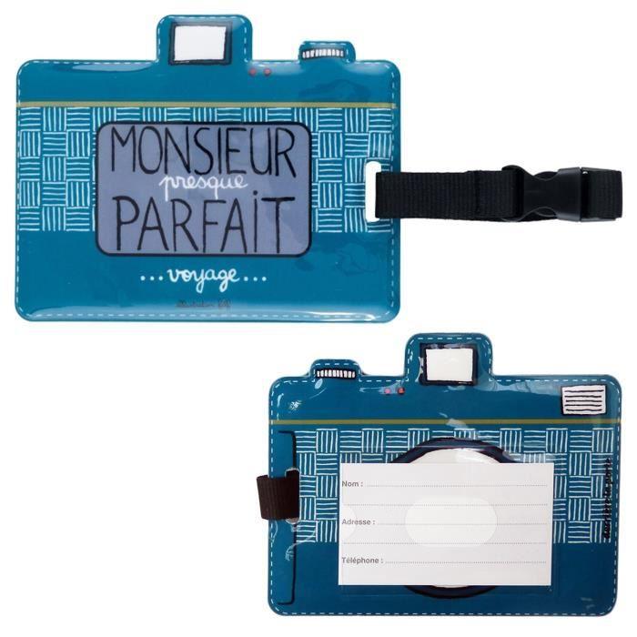 Porte tiquette de bagage monsieur parfait valise voyage for 1 porte etiquette de voyage