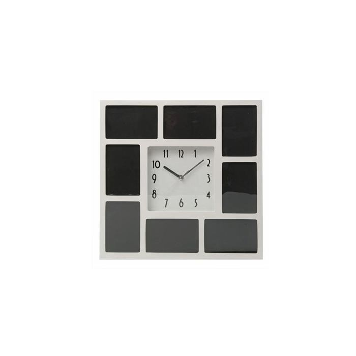 horloge cadre carre blanc achat vente horloge bois cdiscount. Black Bedroom Furniture Sets. Home Design Ideas