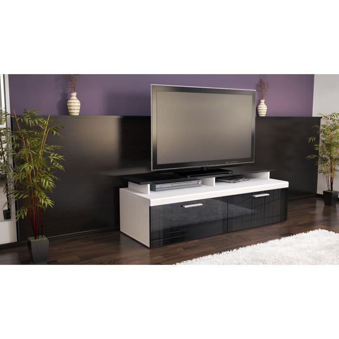 Meuble t l blanc et noir 140 cm achat vente meuble tv for Meuble tele noir et blanc
