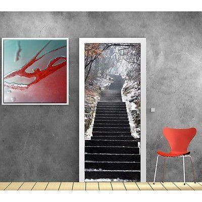 Papier peint porte escalier neige 617 dimensions - Papier peint escalier ...