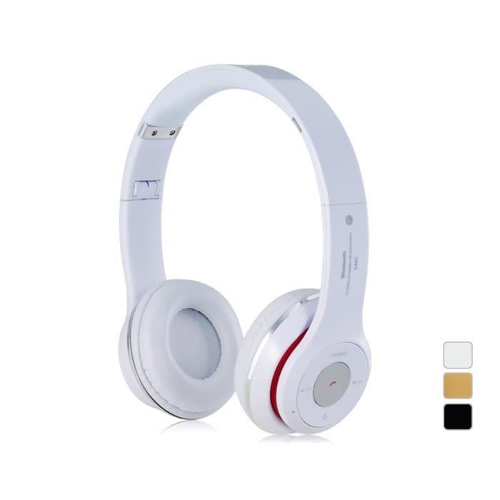 s460 on ear sans fil casque bluetooth st r o avec fente pour carte tf blanc casque. Black Bedroom Furniture Sets. Home Design Ideas