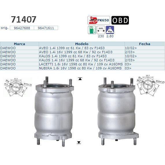pot catalytique pour daewoo aveo 1399 cc 61 k achat vente pot catalytique pot. Black Bedroom Furniture Sets. Home Design Ideas