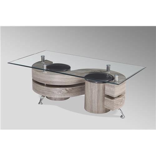 Table basse avec poufs brittany bois fonc achat for Table basse bois fonce