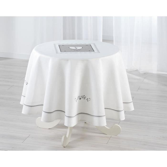 Nappe ronde 180cm brod e amandine blanc achat vente - Nappe de table ronde ...
