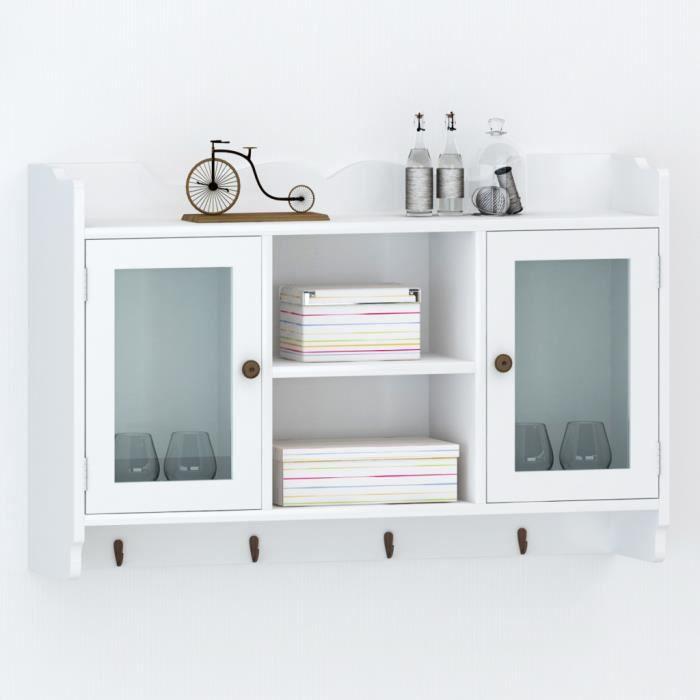 vitrine murale avec 2 portes en verre et 4 crochets pour. Black Bedroom Furniture Sets. Home Design Ideas