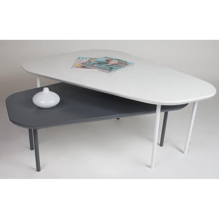 Set de 2 tables basses en bois blanc mat et gris dim 105 x 80 x 40 93 5 - Table basse en bois gris ...