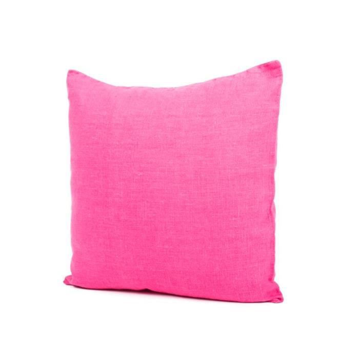 Coussin 100 lin lav 45 x 45 cm fushia propriano achat for Housse de coussin 45 x 45