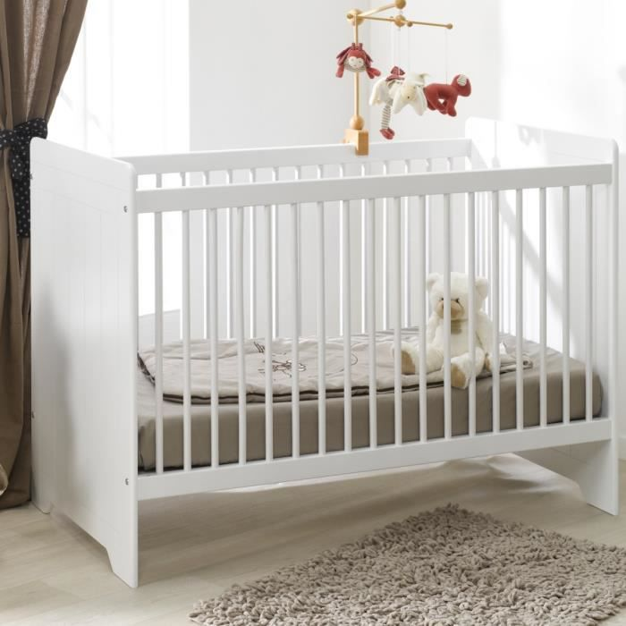 Sofamo lit b b barreaux blanc 60x120 cm oslo blanc achat vente lit b b - Lit enfant ajustable ...
