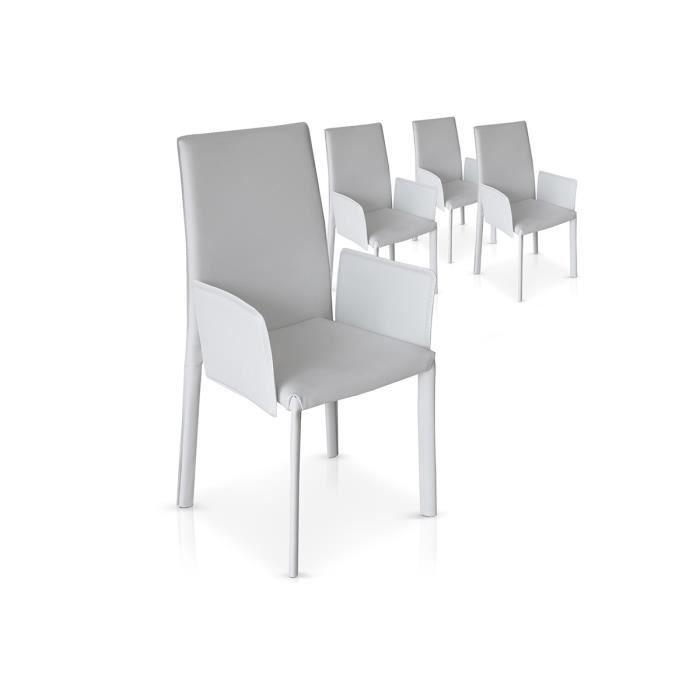 Lot de 4 chaises blanches avec accoudoirs pu monta achat vente chaise b - Lot 4 chaises blanches ...
