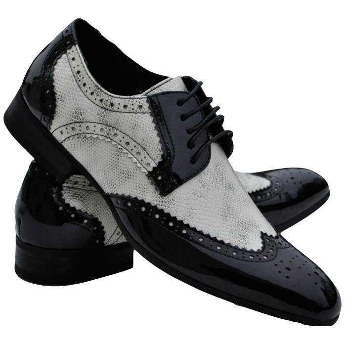 chaussures homme noires et blanc noir noir achat vente richelieu cdiscount. Black Bedroom Furniture Sets. Home Design Ideas