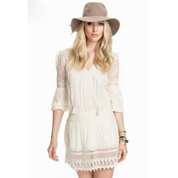 femme robe en dentelle de broderie de style campagnard femme beige robe de elastique de taille. Black Bedroom Furniture Sets. Home Design Ideas