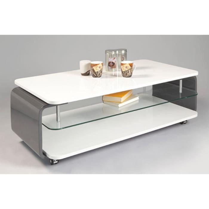 Table basse lisa coloris gris blanc haute bril achat - Table basse gris ...