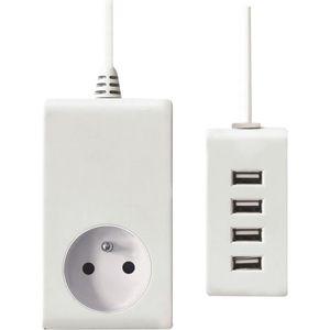 VOLTMAN Chargeur mural avec prise 2 Pôles + terre & 4 Ports USB