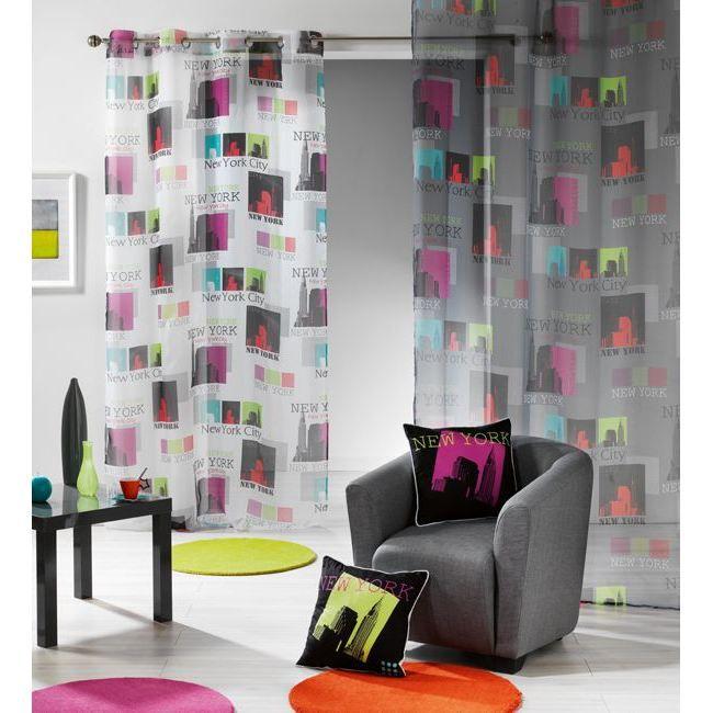 rideau panneau voile oeillet 140x240cm new york achat. Black Bedroom Furniture Sets. Home Design Ideas