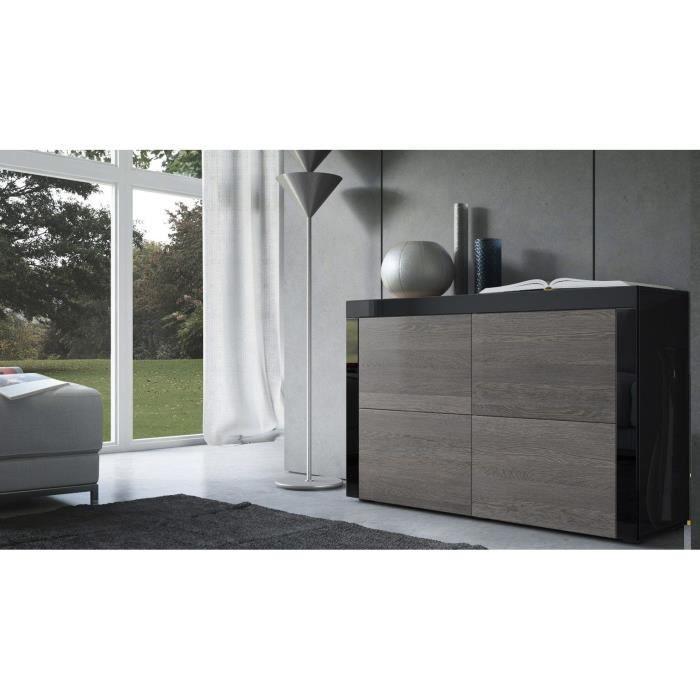 commode noir et bois weng 110 cm achat vente commode de chambre commode noir et bois weng. Black Bedroom Furniture Sets. Home Design Ideas