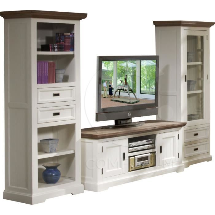 ensemble meuble tv biblioth que et vitrine en acacia. Black Bedroom Furniture Sets. Home Design Ideas