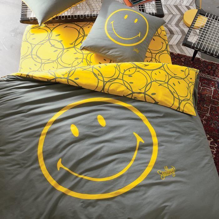 Parure smiley classic jaune 240x220cm 2 taies achat vente parure de couette cdiscount - Housse de couette jeune homme ...