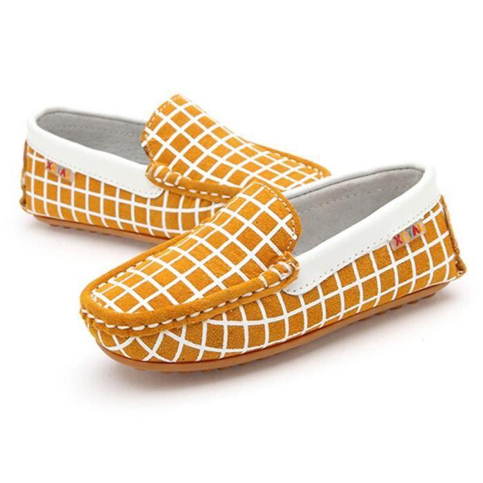 slip on enfants mixte chaussures fille v ritable cuir mocassins gar on jaune jaune tu achat. Black Bedroom Furniture Sets. Home Design Ideas