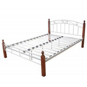 lit 2 personnes blanc et bois achat vente lit 2. Black Bedroom Furniture Sets. Home Design Ideas
