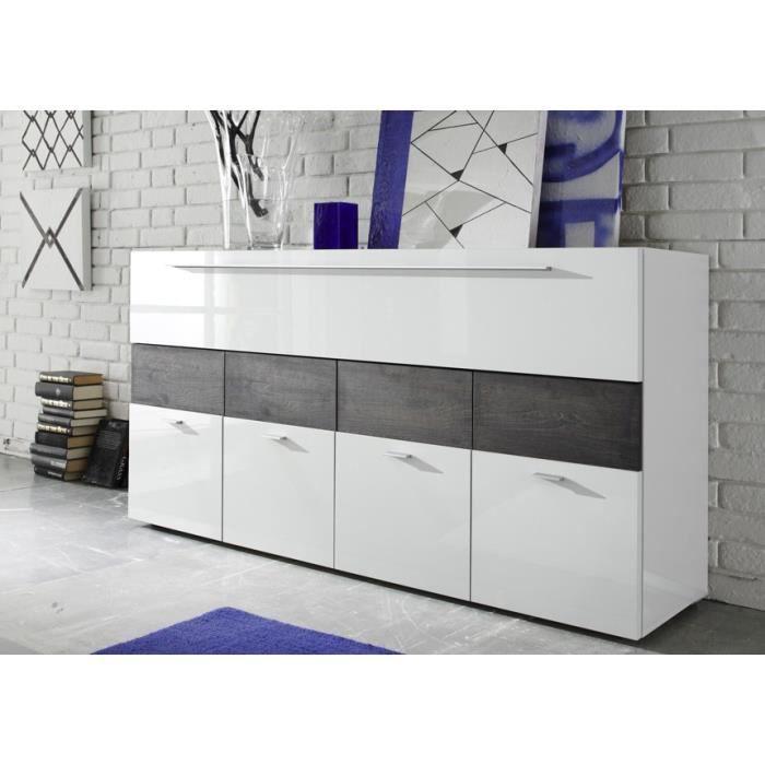 buffet blanc laqu et bois weng liona achat vente buffet bahut buffet blanc laqu et bois. Black Bedroom Furniture Sets. Home Design Ideas