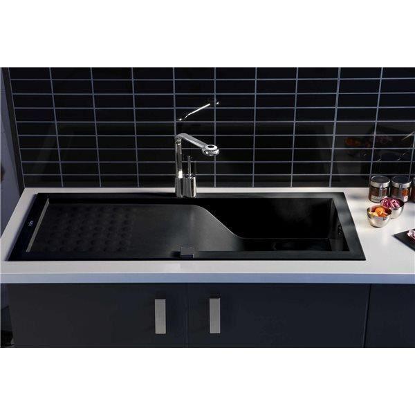 evier de cuisine reversible a encaster 1 cuve en resine minerale composite noir achat vente. Black Bedroom Furniture Sets. Home Design Ideas
